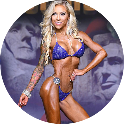 Fit Mom Carissa Johnson on stage at 2015 WBFF Pro Competition