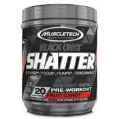 Pre-workout Supplement MuscleTech Shatter Black Onyx featuring the patented ingredient PEAK ATP